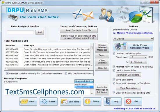 Send bulk sms on handsets